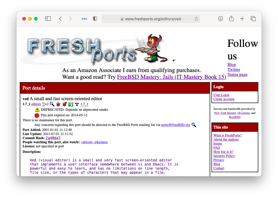 FreshPorts page for editors/ved